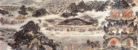 《佛教东渐图》局部,傅益瑶作品