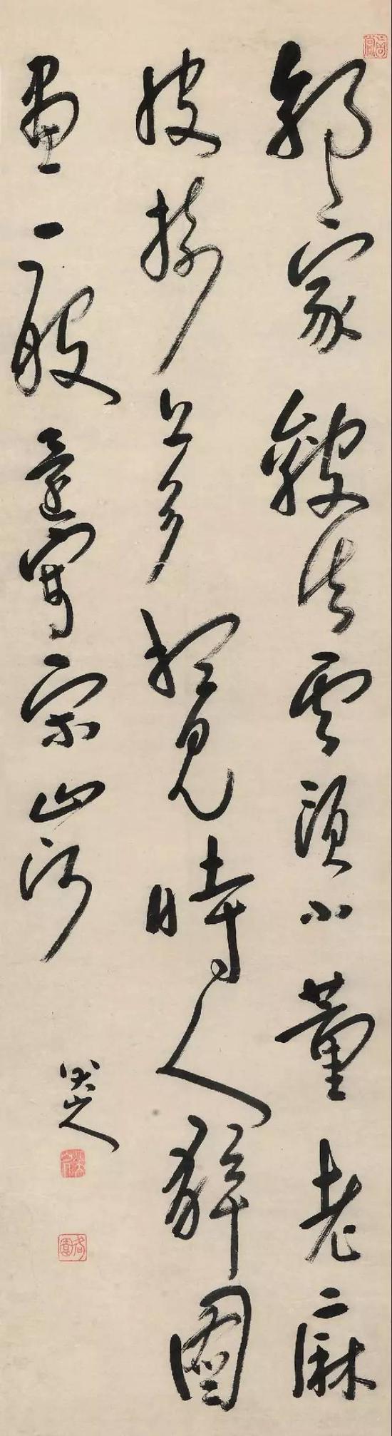 清 八大山人 草书七绝诗 立轴 水墨纸本 成交价3450万元