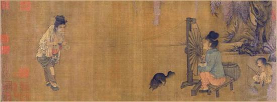 宋代 纺车图 注意小孩手中的蟾蜍