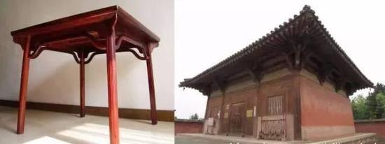 一腿三牙方桌其造型与唐代南禅寺如出一辙