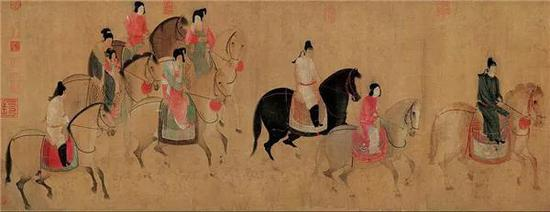 张萱《虢国夫人游春图》(局部)