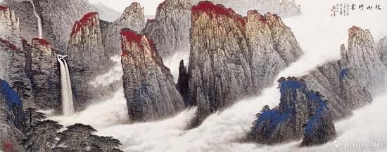 魏紫熙《秋山行云》 镜心 143×366厘米 纸本设色