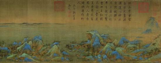 《千里江山图》卷,北宋,王希孟作,绢本,设色,纵51.5cm,横1191.5cm。