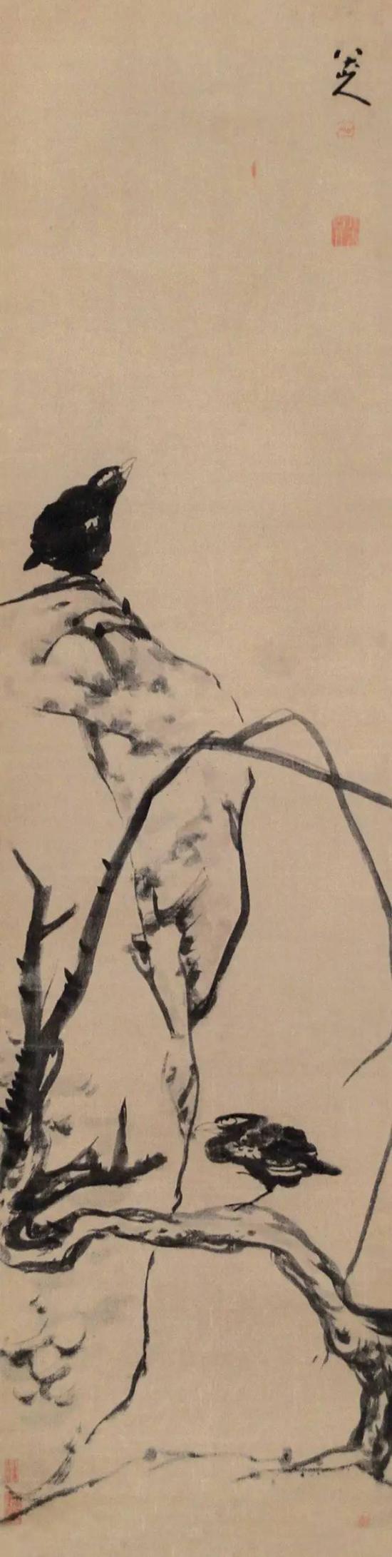 清 八大山人 拳石双鸟图 立轴 水墨绢本 成交价2240万元