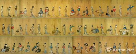 《千秋绝艳图》,明代,仇英(传),长卷,绢本设色,绢本,设色