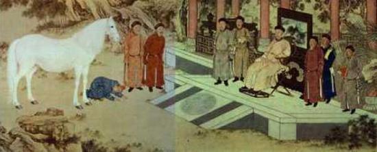 郎世宁,《哈萨克贡马图》(局部) ,1757年,法国吉美博物馆藏