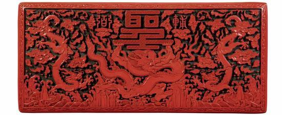 雕漆飞龙食盒正面