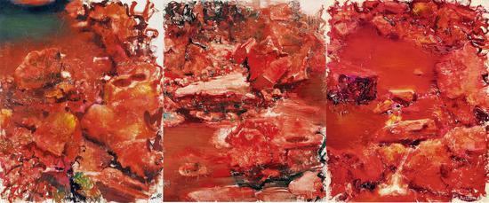 《石头系列—雅安上里》2012年在匡时拍卖以2990万元成交,据周春芽回忆这件大尺幅3联画1994年仅卖出3万元
