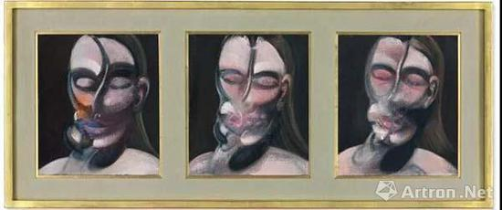 法兰西斯?培根(1909–1992) 《三幅肖像画习作》 油彩 铅笔 画布 35.5 x 30.5 cm。