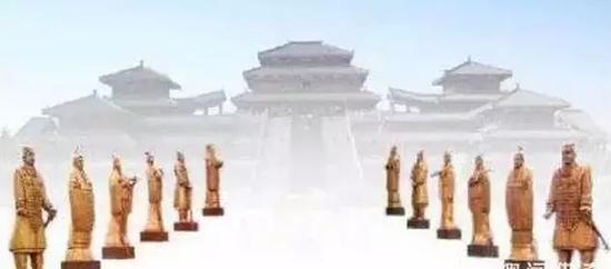 秦始皇统一六国后为防止人民反抗而尽收天下之兵所铸成之十二个大铜人像。