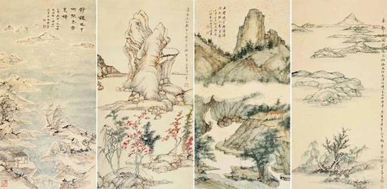 饶宗颐《晚明诸家笔意四时山水四条屏》,1992年