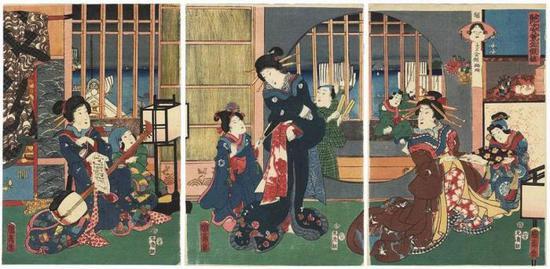 Evening Entertainment | 歌川国盛 | 最初的浮世绘 | 74cm x 36cm | 1855