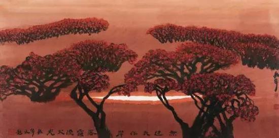 周韶华 2004年作 落霞流火69×138cm