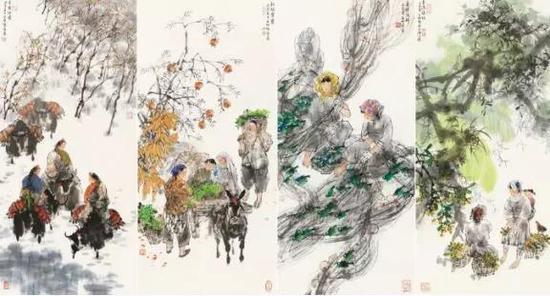 王明明 四季风情 镜心 97×44.5cm×4