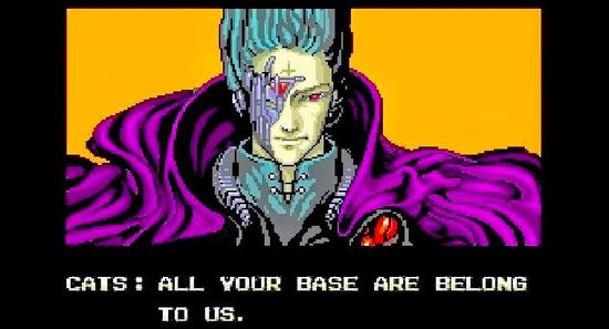 "2000年代中期互联网文化的高度:""All Your Base Are Belong to Us""(你的基地都是我的了)迷因。图片:courtesy Wikipedia"