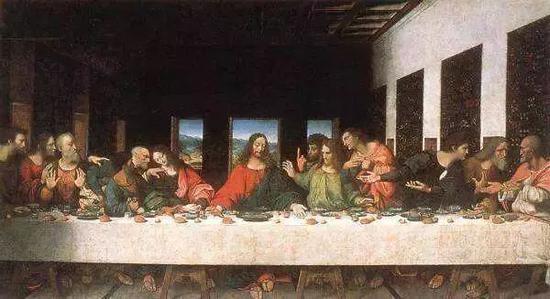 大家都熟悉的达·芬奇《最后的晚餐》。