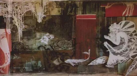 在昆斯的戴奇工作室中斯伍恩的《起伏之海中漂浮的城市》的装置景观