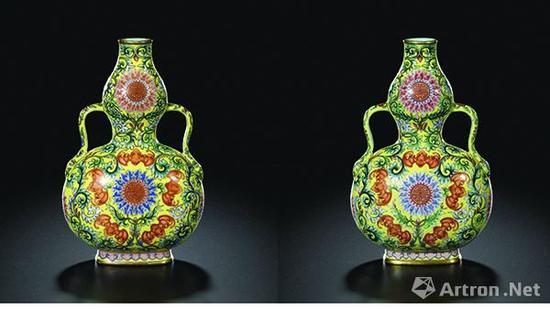 清乾隆黄地洋彩福寿连绵图绶带葫芦扁瓶(一对),成交价1.0706亿港元