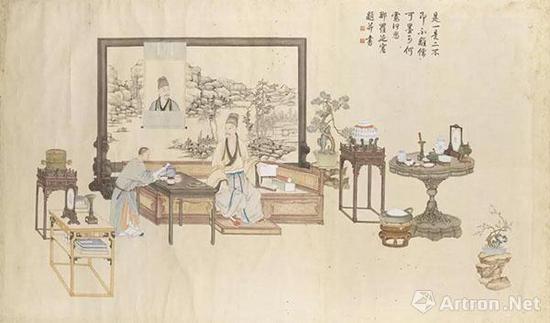丁观鹏《弘历鉴古图》(又名《弘历是一是二图》)绢本、设色 76.5cm×147.2cm故宫博物院藏