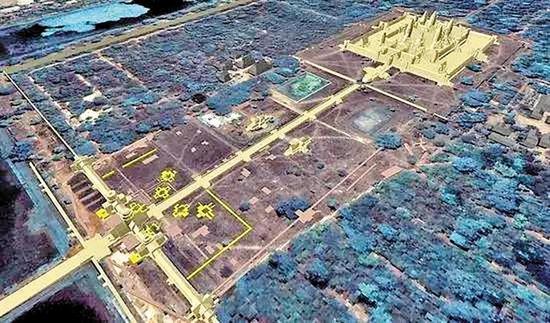 雷达激光发现的地下古城轮廓图。