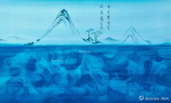 ▲徐累 Green Mountain After Rain Chinese ink  and mineral colour on silk 成交价:288万元