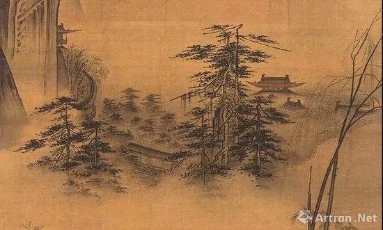 ● 《踏歌图》中影影绰绰的山间建筑,令人心生向往。