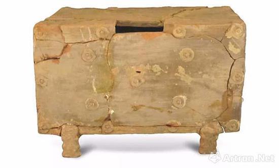 汉代绿釉模印钱纹钱柜