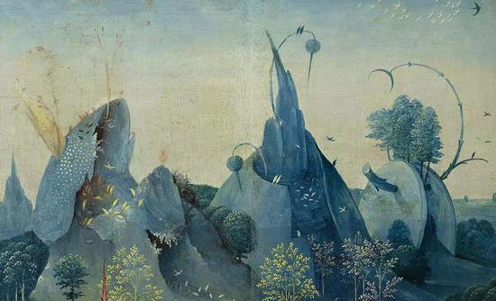 《创造夏娃》这部分中的伊甸园充满了奇花异草和飞禽走兽,背景中怪石嶙峋。