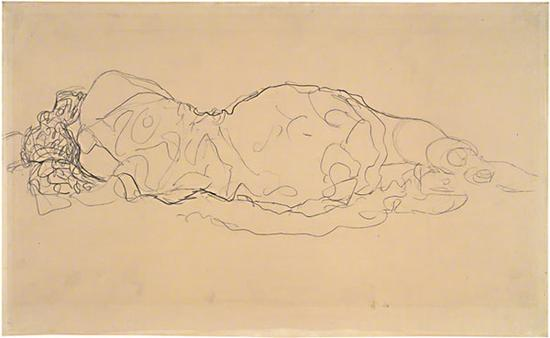 从背后看到的卧女(1916-17),克里姆特