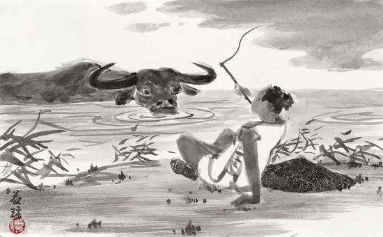 《十牛图》第五图《牧牛》,傅益瑶作品