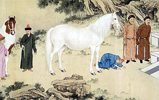 郎世宁《哈萨克贡马图》(局部)