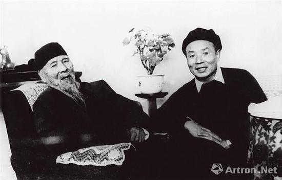 齐白石与李可染合影(摄影:黄永玉)