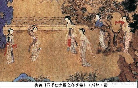 仇英的《四季仕女图》绢木,水墨,纵:29.6厘米,横:300.9厘米。