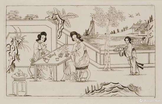 """图8 -2 """"中国风""""(Chinoiserie) 版画,1720s—1770s,铜版画,彼得申克二世(Perter Schenk the younger ,1693—1775)作, 阿姆斯特丹国立美术馆(Rijksmuseum Amsterdam)藏"""