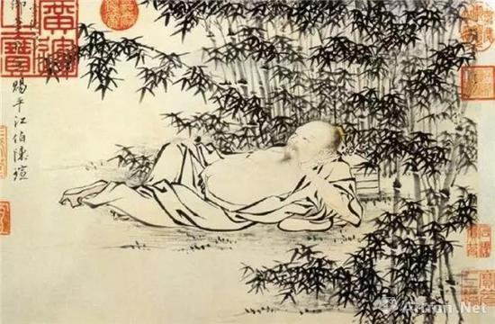▲明宣宗朱瞻基《武侯高卧图》卷纸本墨笔 27.7*40.5 北京故宫博物院藏