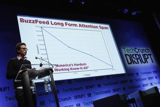 Buzzfeed的Jonah Peretti在2013年度TechCrunch Disrupt NY大会上演讲。图片:by Brian Ach/Getty Images for TechCrunch