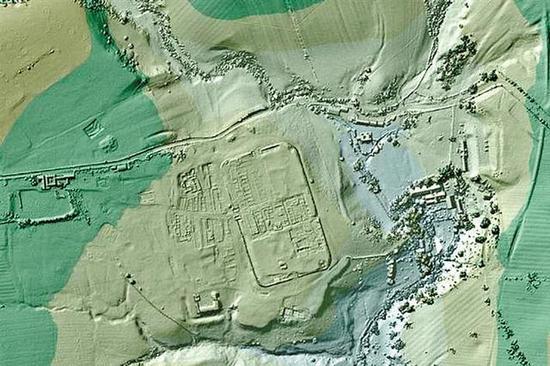 英国将激光雷达搜集的数据绘制成3D影像。