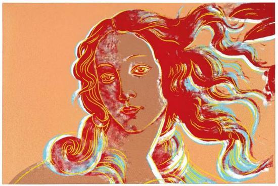 装置迪?沃霍尔 (1928-1987)   《维纳斯的生(波提切利之后)》   压克力 丝网印墨 画布匹   122 x 183 cm。   1984年干   估价:英镑 4,500,000 - 6,500,000