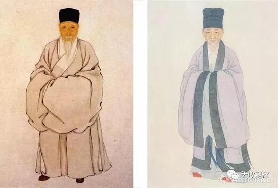 陈继儒(左)与董其昌(右)像