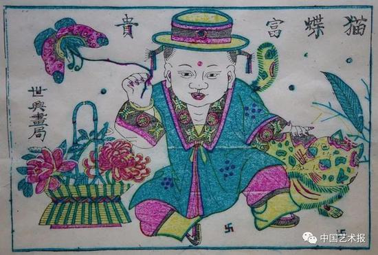 猫蝶富贵 邰立平复制 凤翔木版年画