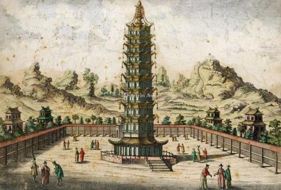 Johan Nieuhof手绘南京大报恩寺琉璃宝塔