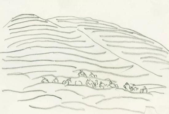 姥山 1984年 纸本铅笔 12×17cm