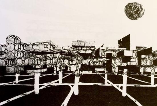 """基于移动建筑理论的""""空中城市"""" ?Yona Friedman"""
