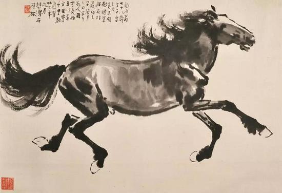 《奔马图》徐悲鸿纸本墨笔1938年徐悲鸿纪念馆藏