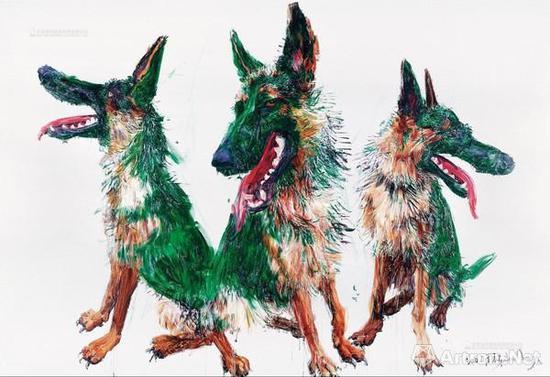 2017年保利秋拍中,周春芽《3个TT》以2375万元成交,是绿狗系列首次破千万成交的作品