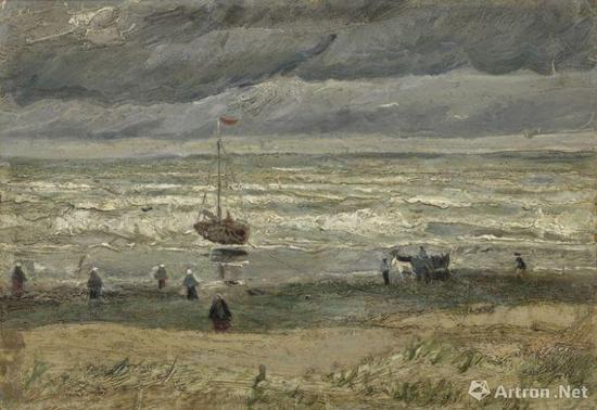 文森特·梵高 斯海弗宁恩海景 36.4×51.9cm 帆布上的纸面油画 1882年