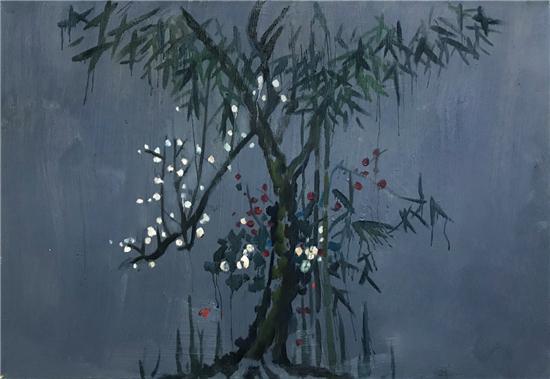 梅一作品:《梅兰竹菊》110cm×70cm