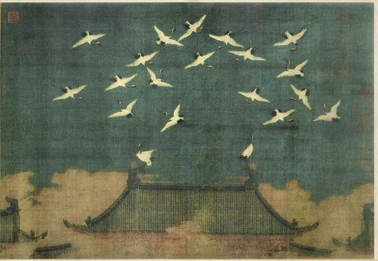 《瑞鹤图》 绢本设色 51 x 138.2 厘米 现藏于辽宁省博物馆