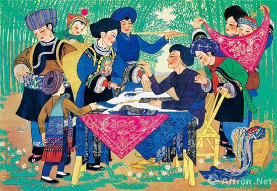 周令钊、陈若菊《湘西苗族老艺人》 47cm×67cm 1958年 纸本水粉 中国美术馆藏