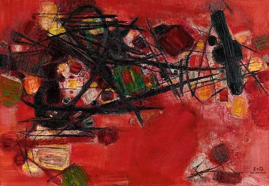 朱德群《红肥录瘦》 油画画布,1959年作,87x116公分 估价:50,000,000至60,000,000港元